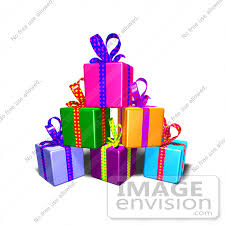 Royalty Free RF Illustration A Pile Colorful Gifts With
