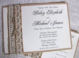 The perfect rustic burlap lace wedding invitation These handmade
