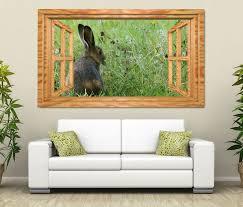 3d wandtattoo wilder hase kaninchen grünes feld fenster wandbild wohnzimmer wand aufkleber 11l1927 3dwandtattoo24 de