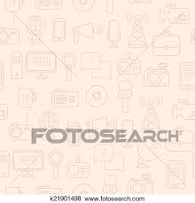 Illustration Consists Of Computer News Reporter Camera Microphone Radio Infographics Design Web Elements Background