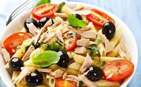 salade de pâtes tomates olives et thon wecook