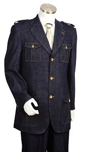 mens il canto military inspired high grade denim blue suit gold