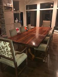 Rectangular Brown Wooden Table With Eight Chairs Dining Set 10 Feet Long By Four Wide