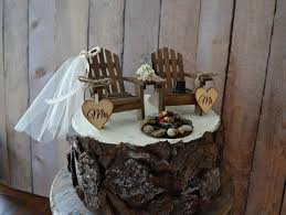 Country Wedding Chair Cake Topper Camping Hunting Fishing Themed Campfire Bonfire Rustic Bride Groom Adirondack