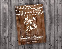 Rustic Save The Date Cards Postcard Lights Wood Country