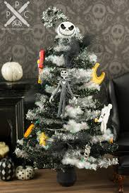 Miniature Nightmare Before Christmas Tinsel Halloween Tree With Dollhouse Lights Battery Operated