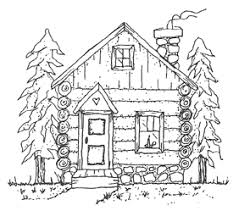 Sketch Log Cabin Woods Coloring Page