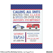 Police And Fire Birthday Invitation With Envelopes In 2018 | Police ...