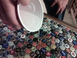 DIY Beer Cap Table | Brobility Bar Wonderful Home Bar Top Fniture Remarkable Pallet Wondrous Tops Ideas 45 For Outside Best Diy Beer Cap Table Brobility How To Epoxy Resin Top Crystal Clear Glaze Coat Youtube Cool Ideas For Tops Wikiwebdircom Coffee My Penny Finished With Crystal Clear Something Different Glitter Wickednails Creative Webbkyrkancom Countertop Materials Tile Kitchen Rainforest Green Marble Designs Amazing Cool Excellent Pictures Idea Home Design Coverage Singapore Finish Depot