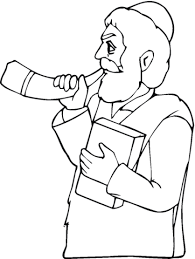 Click To See Printable Version Of Man With Book Is Playing Horn Coloring Page Categories Rosh Hashanah