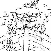 Mickey Mouse And Minnie Donald Duck On A Boat
