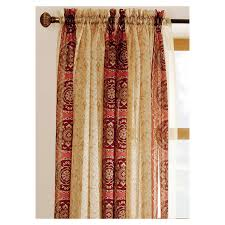 shop allen roth cheshire 63 in red polyester rod pocket sheer