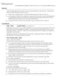 Resume Sample Retail Store Manager Management Resumes Assistant For Restaurant