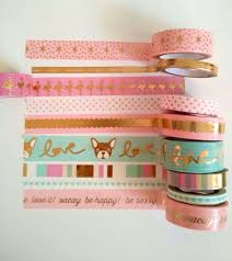 Halloween Washi Tape Australia by New Recollections Phrase Mint Pink White With Gold Foil Washi