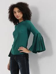 buy ridress pleated long sleeves top for women women u0027s green