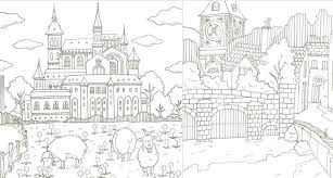 Romantic Country Coloring Book Sketch Page