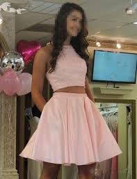 short prom dress pink two pieces homecoming party dress