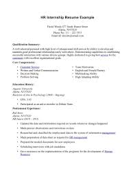 Finance Internship Resume No Experience Sample Customer Service Objectives Of Training Excellent Hr With Professional And