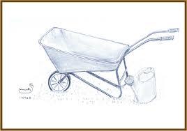 Pencil sketch of wheelbarrow