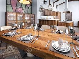 moderne esszimmer in die küche raum gebaut großer speiseholztisch für acht personen 3d übertragen