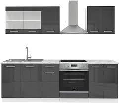 vicco küche raul küchenzeile einbauküche 240cm inklusive e geräte constructa kochfeld backofen dunstabzugshaube anthrazit hochglanz