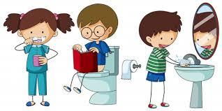 kinder die unterschiedliche routine im badezimmer tun