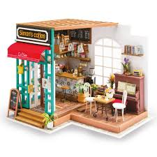 Amazoncom ROBOTIME DIY Dollhouse Kit Miniature Coffee House Kits