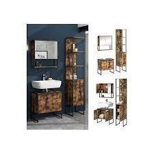 vicco loft badmöbel set fyrk vintage spiegelschrank hochschrank waschtischunterschrank