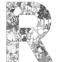 Animal And Plant Alphabet Letter R