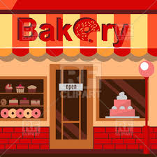 Bakery building with cakes donuts and pies royalty free vector
