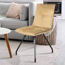 esszimmer stühle in beige samt metallgestell 2er set