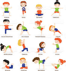 Kids Children Yoga Poses Cartoon Set Royalty Free