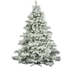 Flocked Alaskan 65 White Green Pine Trees Artificial Christmas Tree