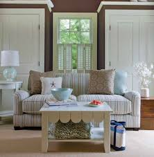 White Sofas Chairs Decor Then Striped Color Cushion Beach House Interior Design Rustic Decorating