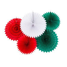 Mexico Italy Themed Tissue Paper Flower Fan Backdrop Wall Decoration Kit 5 PACK
