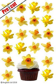 24 X DAFFODIL FLOWERS EDIBLE WAFER RICE PAPER CUPCAKE CAKE TOPPERS BIRTHDAY PARTY EASTER DECORATION