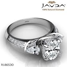 3 Stone Trellis Pave Set Oval Diamond Engagement Ring 14k