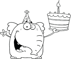 Happy Elephant Holds Birthday Cake Color Sheet Daddy Printable Coloring Pages Mom Jesus Large Size