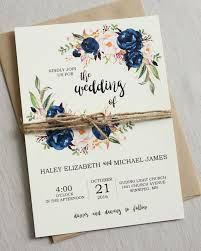 Rustic Navy Wedding Invitation Suite Modern Bohemian Invite Set Floral Boho Chic