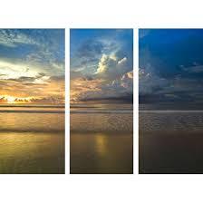3 Panel Golden Sunset Wall Art Canvas 000303 O Picturesque Blue Tone