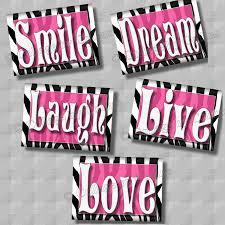 Animal Print Bedroom Decor by Zebra Print Wall Art Decor Pink Smile Dream Live Laugh Love