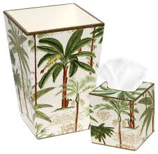 Allen G Designs Elegant Exotic Palm Design Wastebasket and Tissue