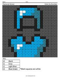 Diamond Armor Minecraft Color By Number Coloring Page