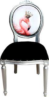 casa padrino luxus barock esszimmer set flamingo mit krone schwarz mehrfarbig silber 48 x 50 x h 98 cm 6 handgefertigte esszimmerstühle mit
