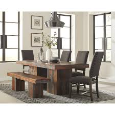 Rustic Dining Table Set Living With Bench Coaster Fine Furniture Round