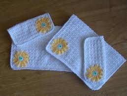 Decorative Hand Towel Sets by Crochet Pattern Crochet Hand Towel Pattern Sunflower Facecloth