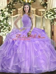 Comfortable Lavender Ball Gowns Organza High Neck Sleeveless Beading And Ruffles Floor Length Lace Up