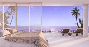 3d rendering luxus villa schlafzimmer in der nähe strand und palme mit schönen abend szene vom fenster