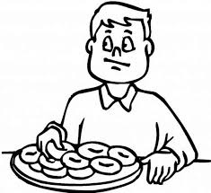 A Boy Eating Breakfast Before School Coloring Page
