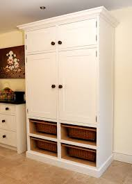 floating high wall pantry cabinet with eight white shelves plus